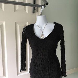 3/4 sleeve black waffle shirt size small